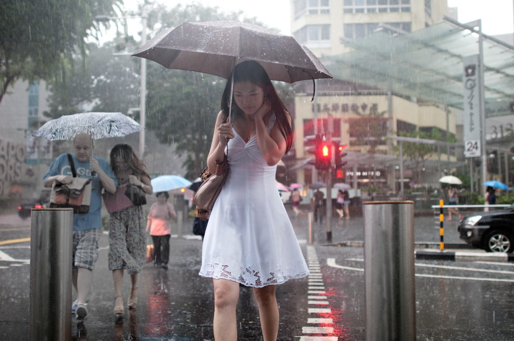 Lady in White in Rain